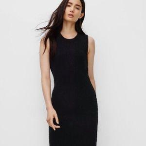 Aritzia Wilfred Free Black Midi Jersey Midi Dress